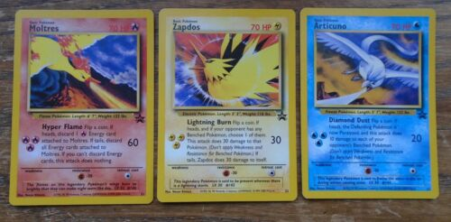 3 POKEMON  LEGENDARY BIRDS PROMO LOOSE CARD SET
