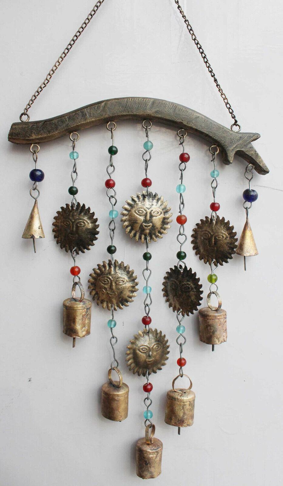 Recycled Iron Bells Boho Hanging Windchime Beads & Bells Suncatcher Patio Decor