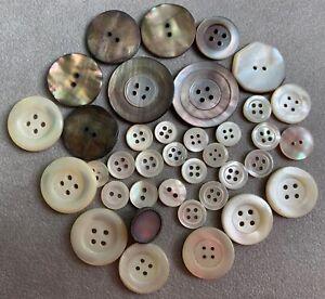 Lot-35-boutons-fantaisie-vintage-Nacre-naturelle-Tailles-diverses