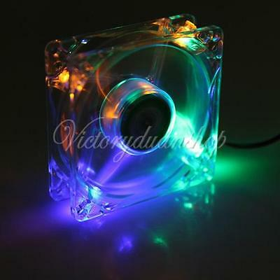 LED Rainbow Color 80mm 4Pin CPU Heatsink Cooling Cooler Case Fan For Computer PC