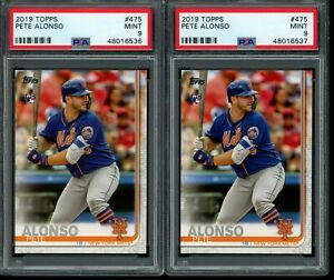 2019 Topps Series 2 Pete Alonso 2 Card RC Lot #475 PSA 9 Mint Rookie NYM