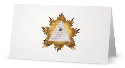 Secret Member Illuminati NWO Masonic Eye Osirs Ra God Meeting Invitation Card