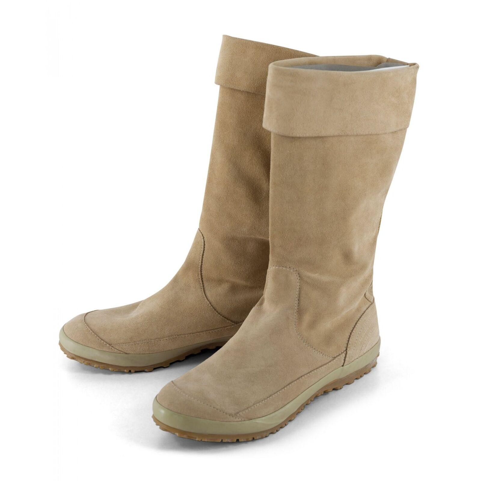 FORNBRINB Damen Stiefel Boots in Hellbraun und Pink mit flexiblen Schaft Leder W