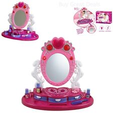 New Toy Dresser Mirror Vanity Beauty Set W/ Jewelry For Kids Gift Game Play