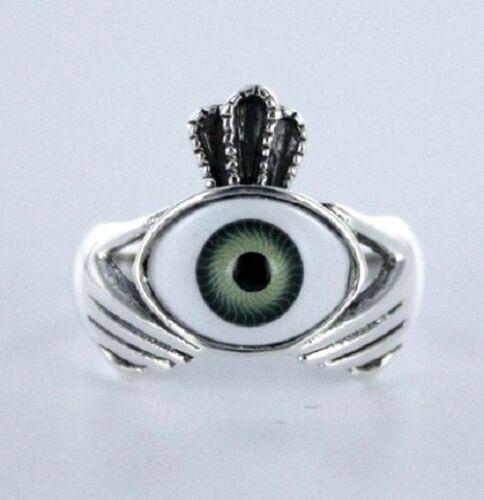 Sizes 6-10 .925 Pure Silver Green Evil Eye Sterling Silver Ring