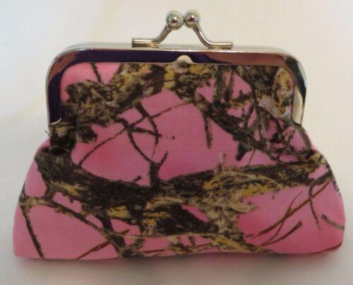 mossy oak breakup realtree camo pink kiss clasp fabric coin purse redneck hunter