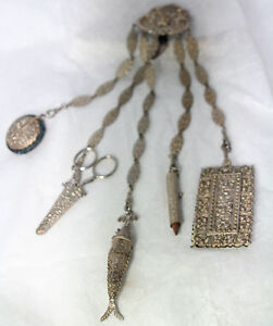 RARE-Antique-VICTORIAN-c1800-039-s-5-ARM-silver-plate-CHATELAINE-articulated-fish