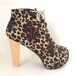 Details About Animal Print Lace Up Wooden Block Heel Platform Boots Scary Spice 90s Vgc 8 41