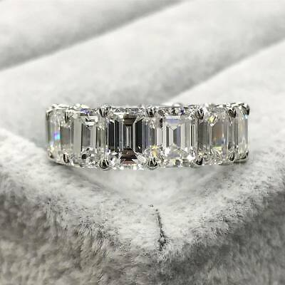 6Ct Emerald Cut Diamond Full Eternity Wedding Band Ring 14K White Gold Finish