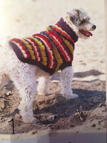 Dog Coat Jumper knitting pattern Bright Stripes Vintage Fully Laminated