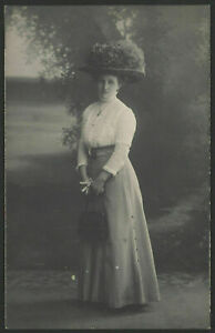 Big-Hat-Atop-Very-Fashionable-Lady-Vintage-Real-Photo-Postcard
