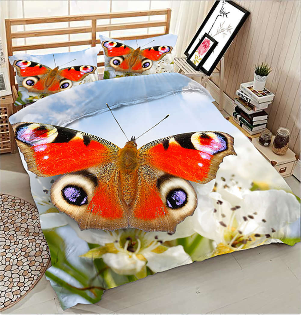 Colourful Butterfly 3D Printing Duvet Quilt Doona Covers Pillow Case Bedding Set