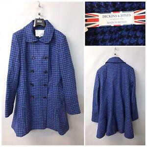 Dickins-amp-Jones-Blue-Wool-Coat-UK-12-EUR-40-Double-Breasted-BNWT-RRP-250