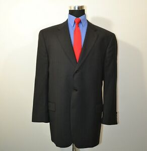 Joseph-Abboud-46L-Sport-Coat-Blazer-Suit-Jacket-Dark-Gray-Stripes-Wool-USA