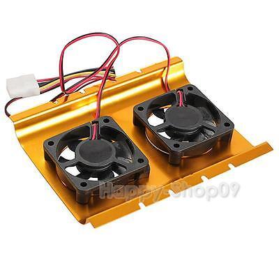 """Dual 3.5"""" Hard Drive Disk HDD Cooling Fan Desktop Cooler Radiator for Desktop PC"""