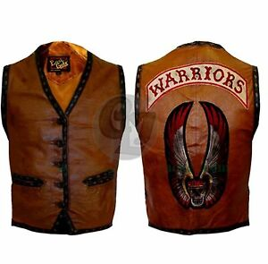 The Warriors Movie BLACK Bikers Motorcycle Rider Grade A Genuine Leather Vest
