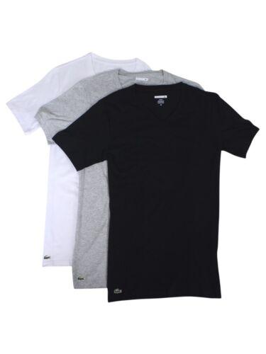 Lacoste Men/'s 3-Pc Essentials Cotton V-Neck T-Shirt
