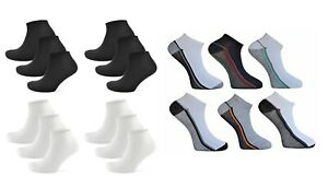 Mens-6-Pairs-Polyester-Plain-Sport-Trainer-Liners-Ankle-Socks