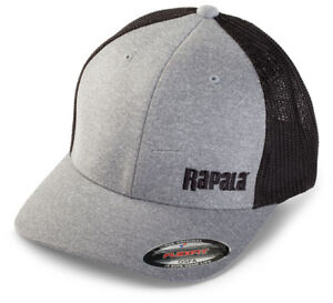10c91b7b2bf30 NEW Rapala Flex Fit Fishing Cap Heathered Grey Black Mesh Left Logo ...