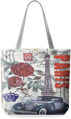modische Einkaufstasche Damentasche Shopperbag Leinen Motive - Paris Retro !