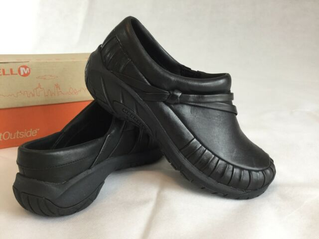 Testify Cellar Friday  MERRELL Shoes Encore Pleat Slide Womens 6.5 Black Leather Slip-On Clogs  Mules for sale online