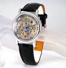 Silver Mechanical Wind-up Skeleton Steampunk Black Leather Heirloom Unisex Watch