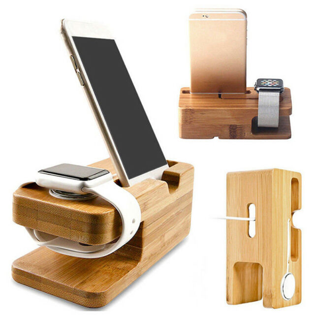 Bamboo Wood Charging Station Charger Dock Stand Holder For  Watch iPhone ff