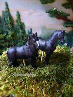 Miniature Fairy Garden Horse Black Set/ 2 0448b Gnome Hobbit Dollhouse Train
