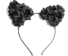 Black Rose Flower Cat Animal Ears Headband Kawaii Pastel Goth Hair Band 1995