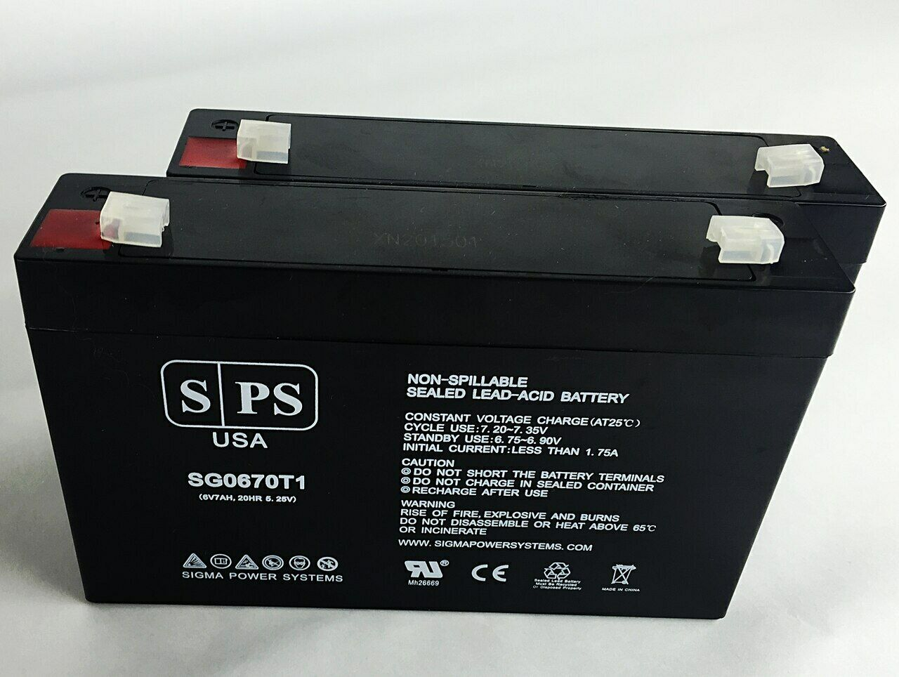 SPS Brand 6V 7 Ah Replacement Battery for Enduring 3FM7, 3-FM-7 (2 Pack)