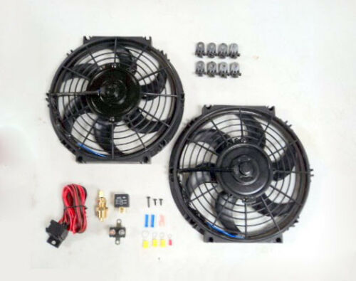 """10/"""" Dual Electric Radiator Fan with 210 Degree Temperature Switch Relay Kit NEW"""