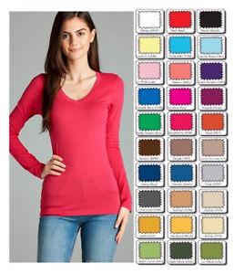 Women V Neck Long Sleeve Cotton T-Shirt Soft Stretchy Basic Tee Top S M L 8003