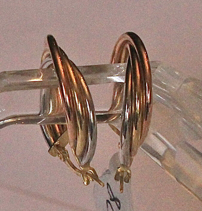 9ct white, pink & yellow gold earrings
