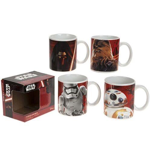 Disney Star Wars VII Porcelain 4 Drinking Cups Mug Set Chewbacca BB-8 Kylo Renn