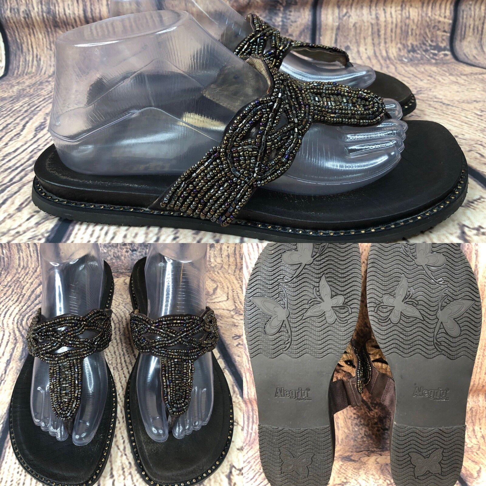 Womens ALEGRIA TAN-201 'Tangoh' Brown Beaded Thong Sandals SIZE 40 US 9.5-10
