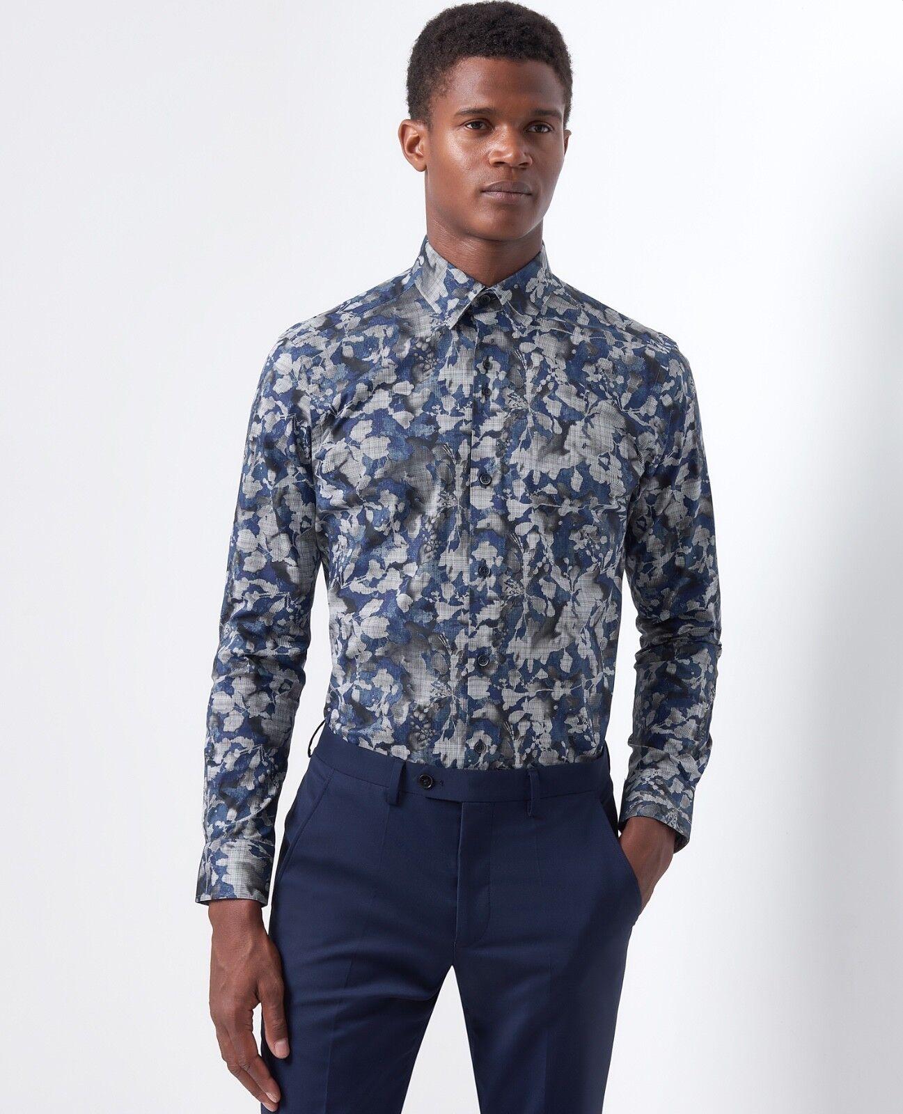 021e85d784df REMUS Uomo Rome Slim Printed Shirt/dark Blue - XXL Aw18 for sale ...