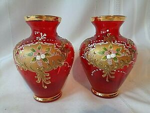 Details About Pair Of Vintage Italy Murano Red Gl 24 Kt Gold Vases Enameled Flowers 5 Tall