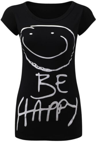 Womens Be Happy Smiley Face Short Sleeve Ladies Jersey Casual T-Shirt Top 8-14