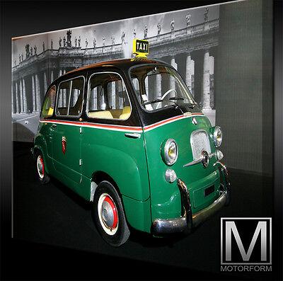 Fiat 600 Multipla Taxi Bild Canvas Art Kunstdruck Echtes Leinwandbild Artwork Ausgezeichnet Im Kisseneffekt Accessoires & Fanartikel
