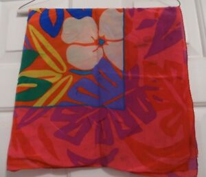 TERRIART-Watercolor-Flowers-and-Stripes-67x7-Lg-Scarf-Vintage-CLAIBORNE