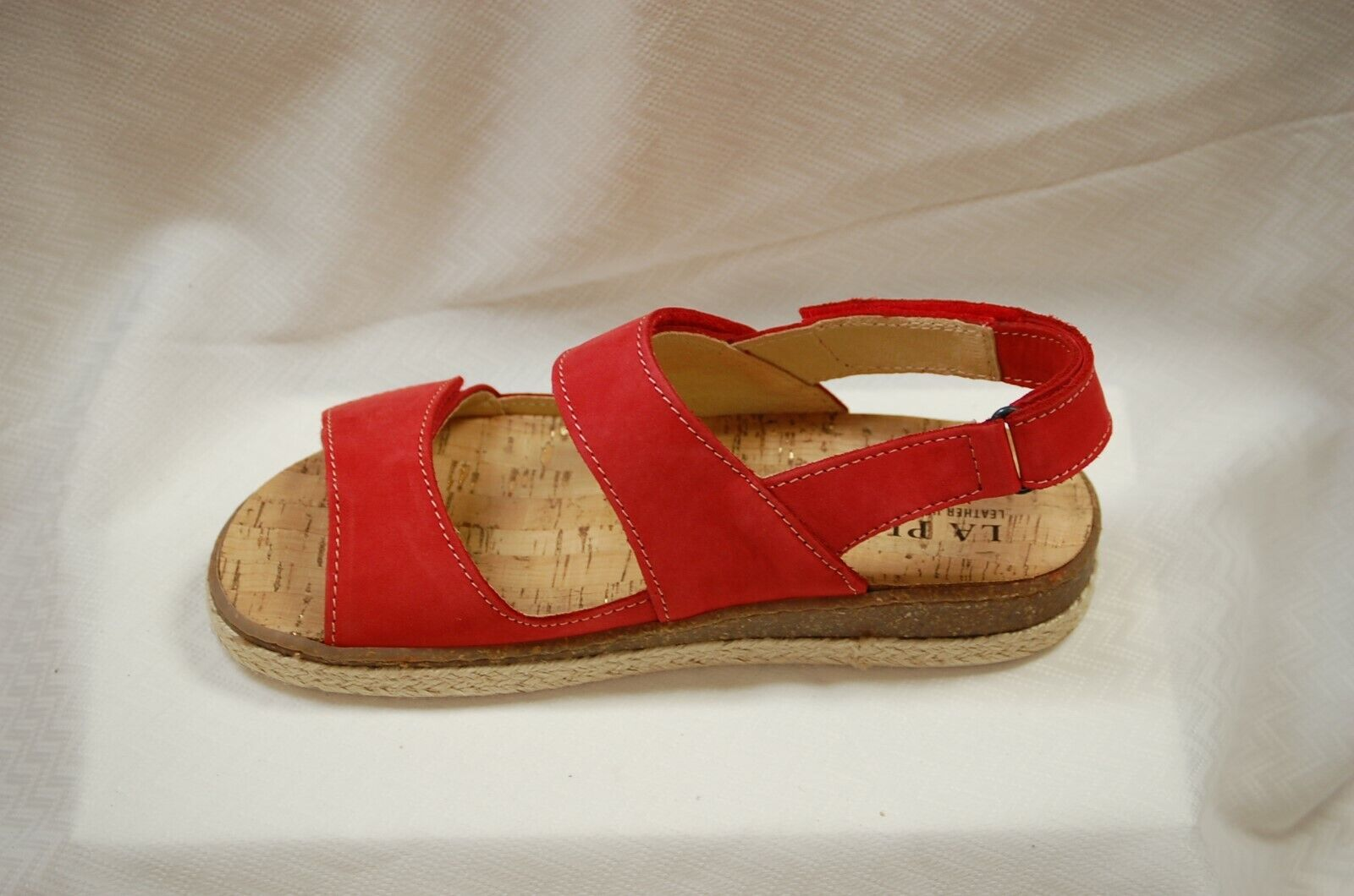 La Plume Pine Sandal with 3 adjustable Straps Red NuBuk leather eur 41