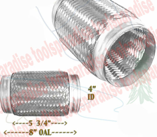"""4/"""" ID x 8/"""" in Long Exhaust Flex Pipe STAINLESS STEEL CONNECTOR Joint Elbow"""