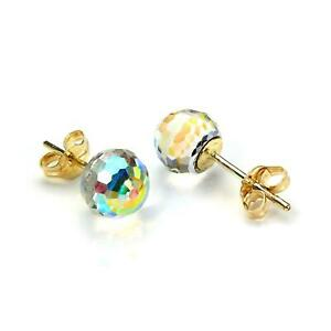 Details About 9ct Yellow Gold Small Faceted 6mm Crystal Ball Stud Earrings Studs Disco
