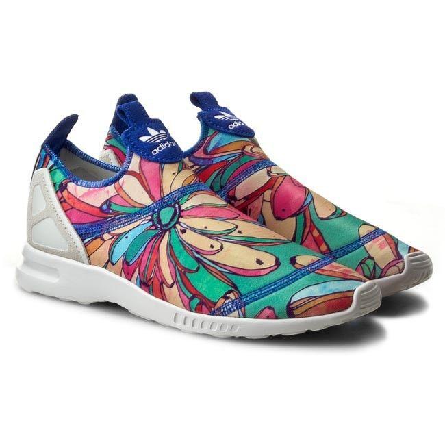 Femme-adidas-zx flux-adv lisse slip on running-baskets chaussures gym uk 5-5,5-6