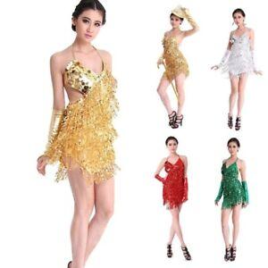 c6592387e8d1 Image is loading New-Women-Rumba-Latin-Dance-Dress-Tassel-Ballroom-