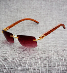 46a4bee8adcc5 Cartier Rimless Wood Sunglasses Size 58-18-140mm - Limited Edition ...