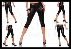 f024638f7a370 Sexy Shiny Wet Look Black 3/4 Length Leggings, All Sizes! | eBay