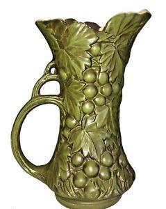 """Vintage Green McCoy USA Pottery Grape Pattern Pitcher Vase #641 9.25"""" tall"""