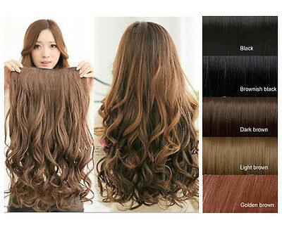 One Piece(5 Clips)Clip-on Synthetic Long Wavy Human Hair Extensions 3 Colors