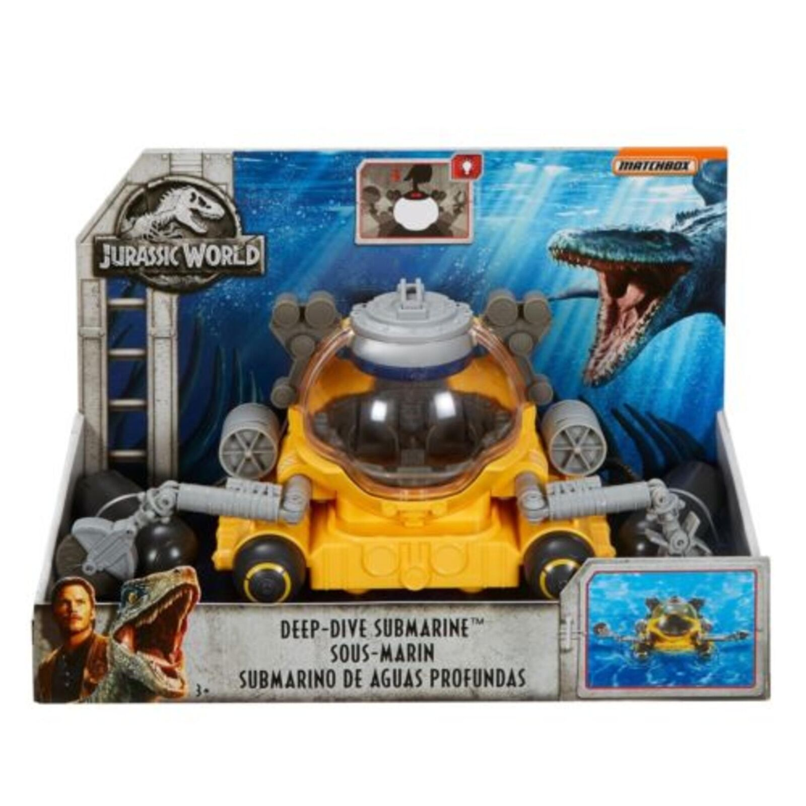 Matchbox Jurassic World Fallen Kingdom Deep Dive Submarine Vehicle Vehicle Vehicle f61185